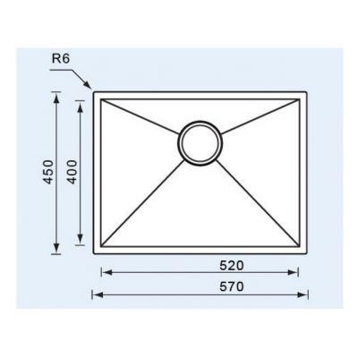 ΝΕΡΟΧΥΤΗΣ SANITEC Filo Quadra 11908 Ανοξείδωτος 57x45cm